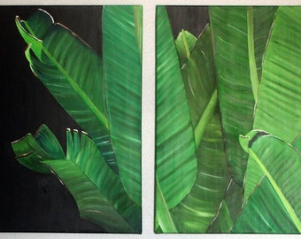 Original Oil Painting of Palm Leaves