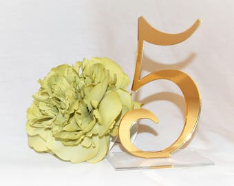Elegant Mirror Table Numbers | Wedding Table Numbers | Party Decor | Standing Numbers | Centerpieces | Acrylic |