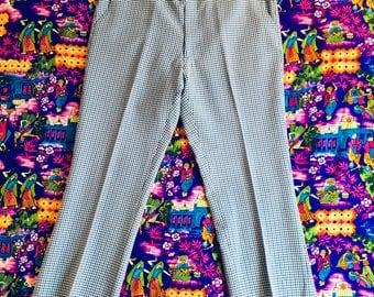 Vintage Blue White Plaid Suit Pants Retro Checkered Palm Beach