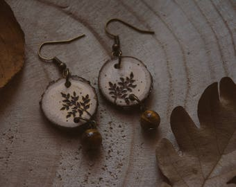 Tiger eye oak wood burned earrings, fern wood burned earrings, nature earrings, forest earrings, gemstone earrings.