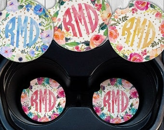 Floral Monogram Car Coasters - Floral Car Coasters - Personalized Car Coasters - Sandstone Car Coasters - Personalized  Gifts - Floral