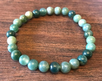 Green Moss Agate Stretch Bracelet - 6mm beads