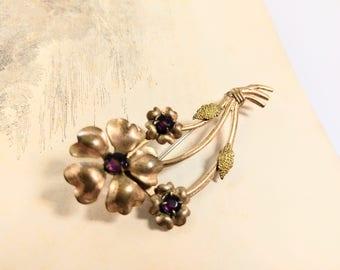 Vintage Purple Rhinstone Flower Brooch / Mid Century Costume Pin Brooch