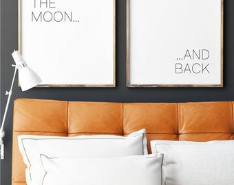 We Love You to the Moon and Back, Nursery Wall Art, Printable Art, Two Panel Illustration, Double Panel Wall Art, Black and White Art