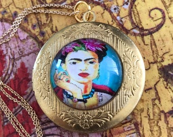 Frida Kahlo Necklace, Frida Necklace, Frida Locket, Frida, Kahlo, Necklace, Pendant, Frida Kahlo Jewelry, Feminist, Feminist Necklace, Gift
