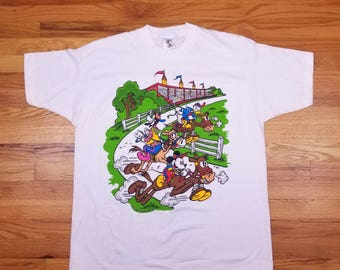 Vintage 90s 1994 Rare Mickey Mouse Goofy Donald Disney Derby Horse Racing T Shirt Size XL