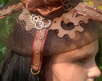 brown/copper steampunk inspired hat style fascinator