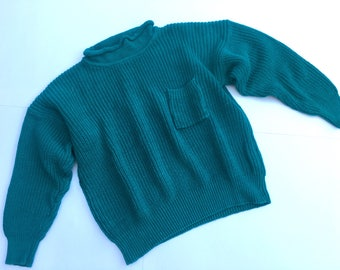 Vintage 1980s Gerard Works teal sweater with front chest pocket. Size M