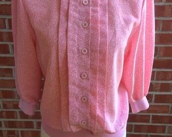 Vintage 80s Andrea Gayle Petites Pink Pattern Blouse