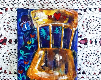 "Original Miniature Painting ""Everett's Chair"""