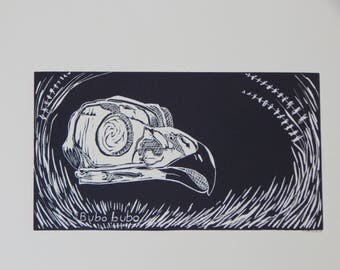 Bubo bubo no.6 --original limited edition linocut print
