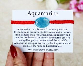 March birthstone bracelet Aquamarine jewelry Red bracelet string Energy bracelet best friend gift Zodiac jewelry evil eye bracelet for her
