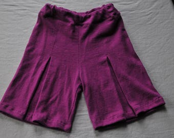 Hemp/Organic Cotton/Purple Culottes with front pleat/ Sustainable Outfit for Girls
