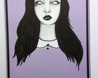 Black & Lilac Goth/Witch, Art Print