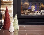 Set of Three Christmas Trees | Small, Medium, and Large Red/Maroon, Green, and Cream/Light Taupe Trees | Holiday Decor Accents | 3 Trees