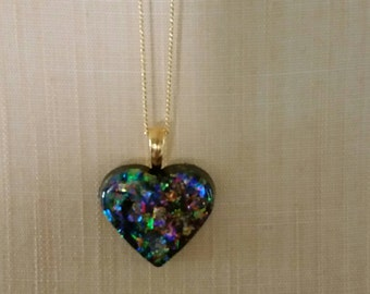 Glitter and Resin Heart Pendant