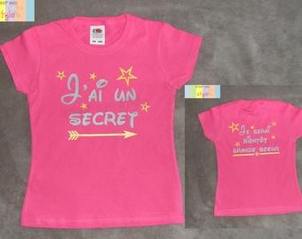 """Tee shirt personnalisé enfant """"j'ai un secret, je serai bientôt grande soeur"""""""