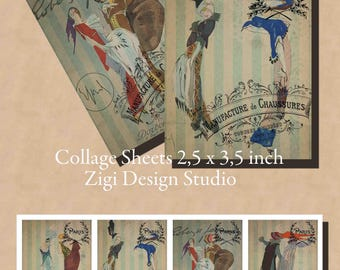 Paris printables digital collage sheets files retro downloads ephemera papers prints clipart images women ACEO domino bookmarks graphics PDF