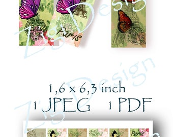 Butterfly collage sheets files downloads Paris printables graphics clipart bookmarks digital gift tags scrapbooking craft illustrations JPEG