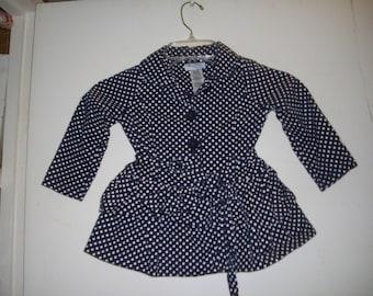 Guess Blue/White Polka Dot Cotton Dress/Coat - Size 3T