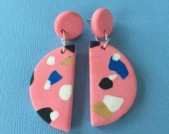 Dotted Half Moon Dangles - Pink