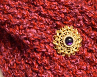 """Red and Lavender Soft Boucle Hand Knit Scarf/Neck Wrap 36"""" Long"""