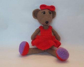 Amigurumi Teddy Bear Girl, Stuffed Soft Toy, Crochet Bear, Handmade toy, Handmade Teddy Bear, Crochet Teddy Bear, Red Dress, Lady in Red