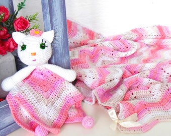 Set / Hand crochet kitten Baby Blanket Lovey, cotton  baby comforter, security blanket, organic baby blanket, first toy, knitted infant gift