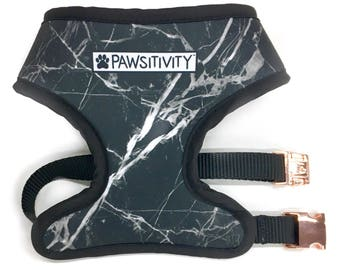 Pawsitivity Reversible Dog Harness - Black Marble & White Marble