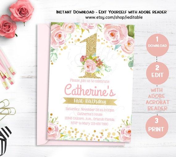 1st birthday floral invitation girl first birthday invite pink and il570xn stopboris Gallery
