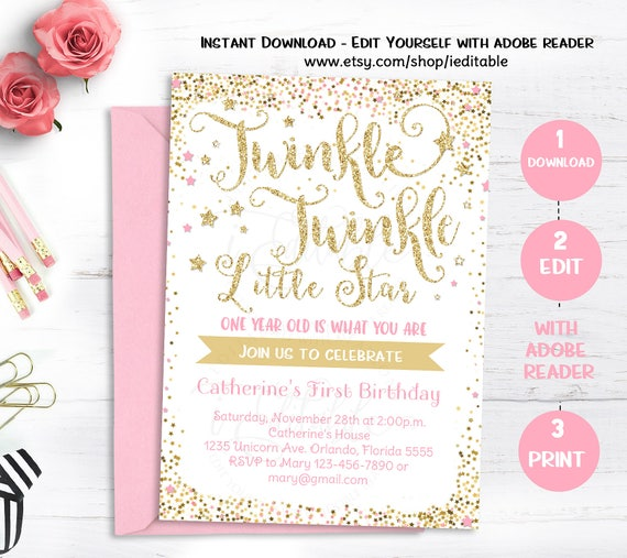 Twinkle Twinkle Little Star Invitation First Birthday Invite