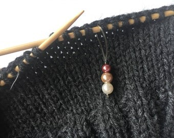 "Handmade Knitting Stitch Markers with Pearls ""Ombre"" set of 3"