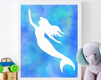 Printable Art, Blue Mermaid, Digital Download, Printable Art, Home Decor, Childrens Decor, Kids Decor, Downloadable Art, Wall Art