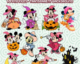 Minnie Mouse Clipart, Minnie Witch, Halloween Clipart, Halloween Witch, Disney Files, Disney Clipart, Instant Download 75