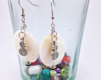 White Oval Bead with Stainless Steel Dangle Earrings