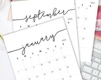Printable Calendar 2018 Calendar for Frame Planner Calendar Planner Insert Calendar Refills Minimalist Calendar PDF Monthly Calendar Pages