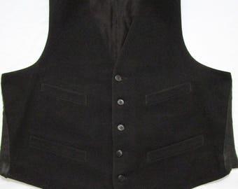Vintage 1940s Black Wool Gabardine vest sz 42