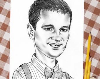 Pencil funny portrait, Mens gift, 1person