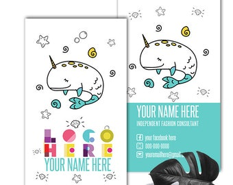 DotDotSmile Business Card Narwhal, Personalized Two Sided Business Card Printable File, Dotdot smile Business cards