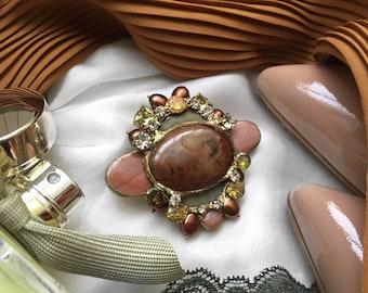Brooch Pearls Jasper Swarovski Zircony