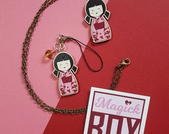 Wooden Japanese Kokeshii Doll * Necklace or Phone Charm