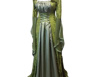 Medieval dress, Fae gown, woodland dress, handfasting, Olive green dress, elven gown
