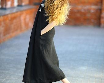 Linen Maxi Dress, Long Linen Dress, Black Color Linen Dress, Linen Dress For Women, Long Dress, Maxi Dress, Long Line Dress, Natural Linen