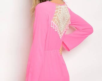 Pink Long Sleeve Back Lace Panel Dress