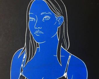 Blue Girl Screenprint