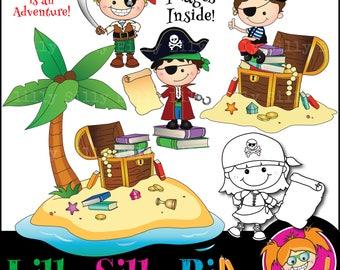 Black and white & Color pirate graphics/ Digital clipart. Adventure, Pirates, Desert Island, Buried Treasure, Quality Graphics.