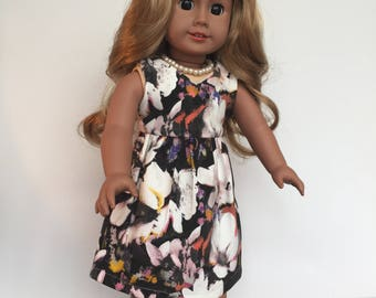 White Floral Print Dress 18 Inch Doll Clothes made to fit Our Generation American Girl Journey Girl Design a Friend