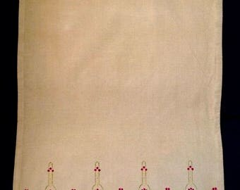 Sweet Dots Tea Towel in Maroon and Gold