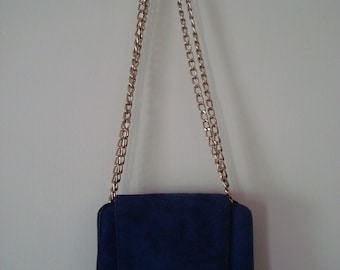 80's Suede & Gold Chain Bag by Jacques Vert