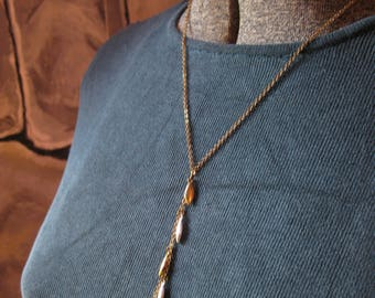 Y Drop Necklace of Silver and Gold Teardrops